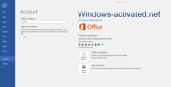 Activation Microsoft Office 2016 by Re-Loader activator