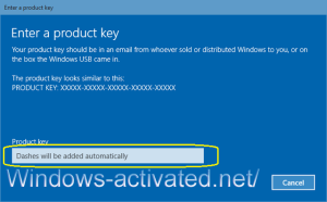 instruction for activation windows 10 with key